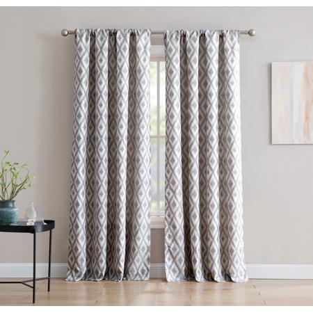 Kalahari Jacquard 84 Inch Window Curtain With Rod Pocket Grey