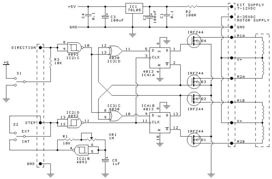 this is the circuit design of unipolar stepper motor driver to control  unipolar stepper motors with 5, 6 or 8 wires  it uses four mosfet irfz44