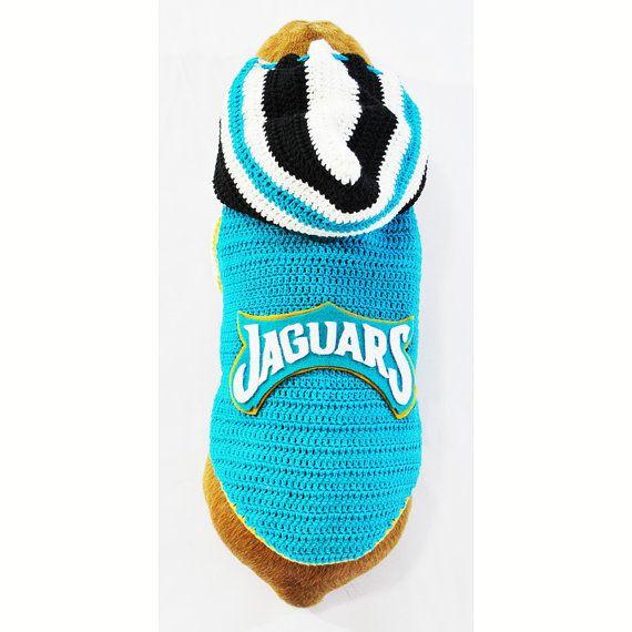 Jacksonville JAGUARS NFL Dog Jersey Pet Hoodie Sweater by myknitt #NFL #Football #SuperBowl #Jaguars #JacksonvilleJaguars #Crochet #Handmade #DIY
