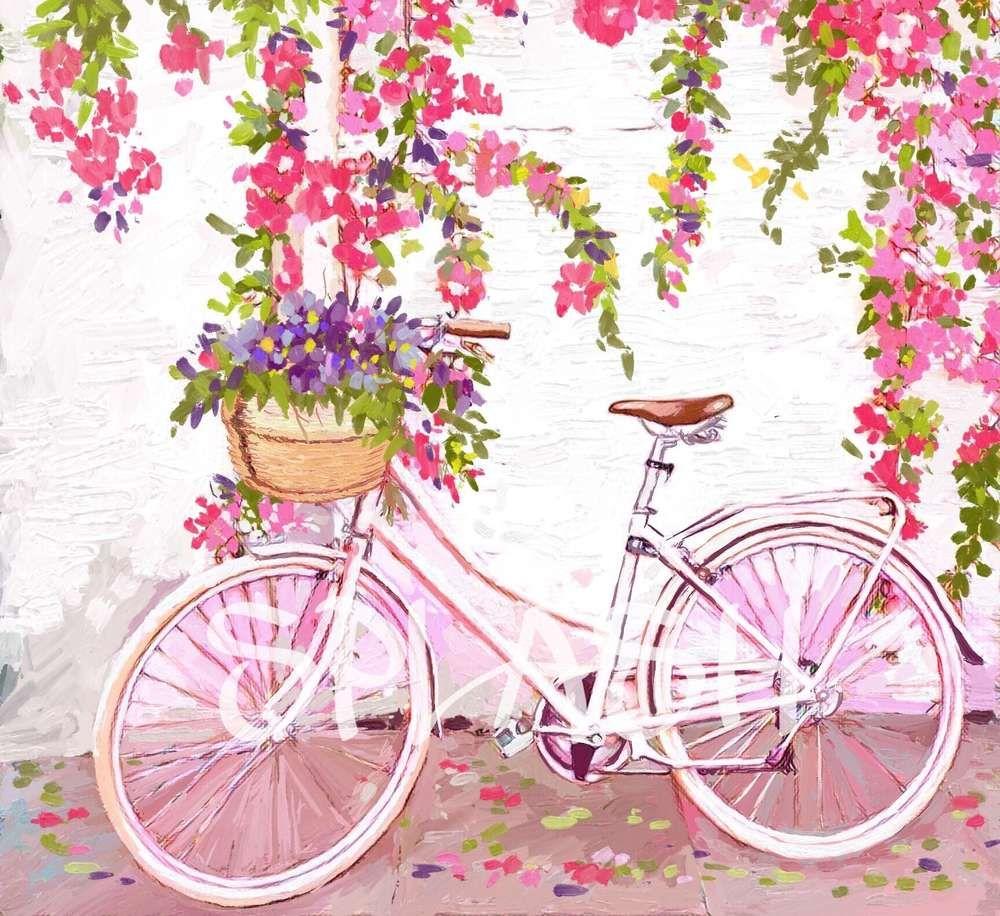 Cuadro vintage de bicicleta con cesta de flores apoyada en - Cestas para bicicletas ...