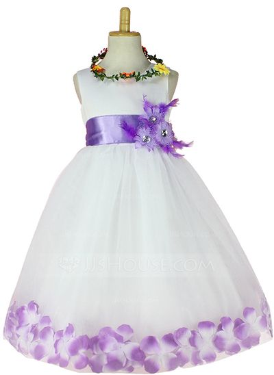 7192f76d5ca  US  22.99  Ball Gown Knee-length Flower Girl Dress - Tulle Sleeveless  Scoop Neck With Sash Flower(s) Rhinestone