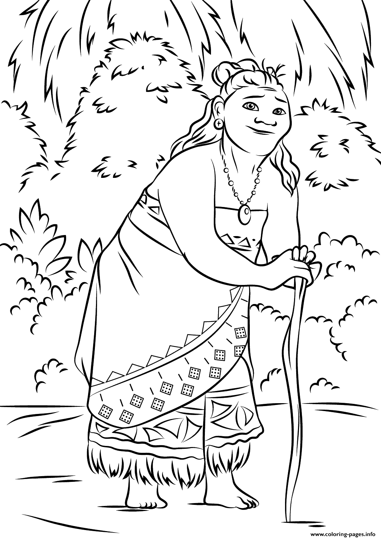 Coloring pages disney moana - Print Gramma Tala From Moana Disney Coloring Pages