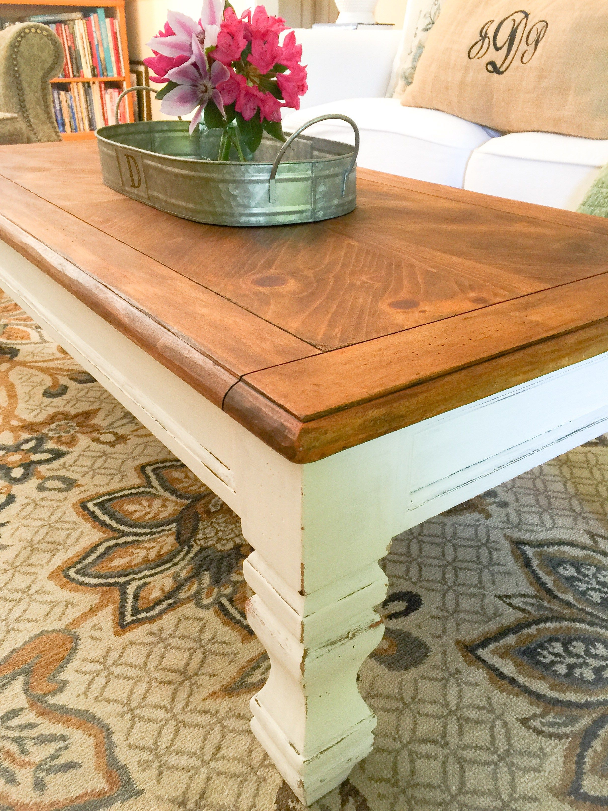 - DIY Farmhouse Coffee Table - Top Finished With Only Annie Sloan