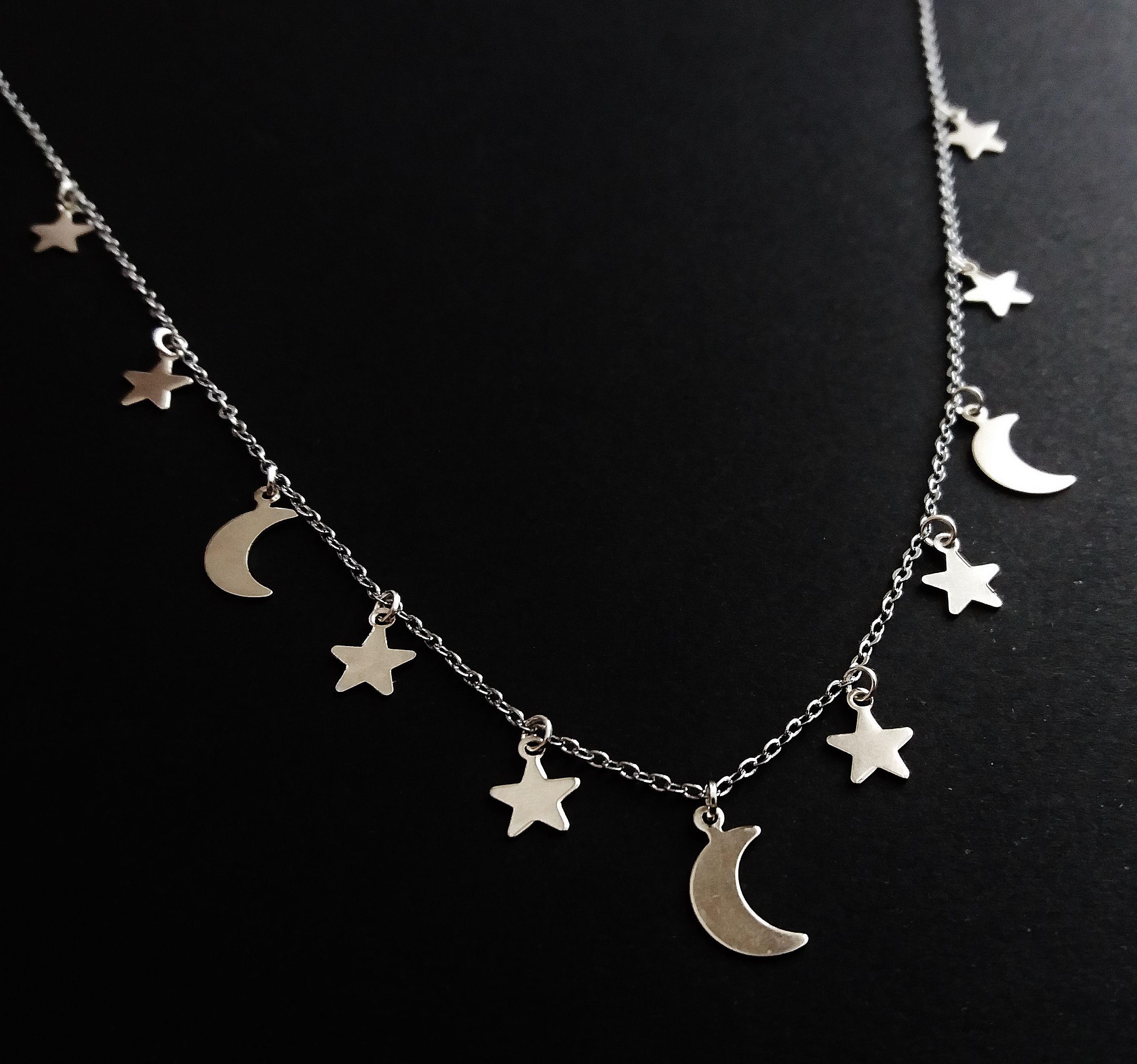 Moon and stars necklace ofstarsandwine on etsy boho grunge moon and stars necklace ofstarsandwine on etsy boho grunge handmade jewelry aloadofball Gallery
