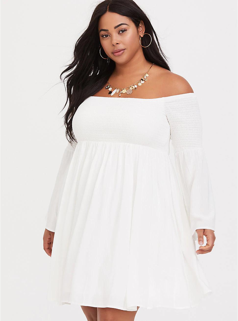 Ivory Challis Off Shoulder Skater Dress In 2021 Plus Size Skater Dress White Plus Size Dresses Plus Size Dresses [ 1308 x 971 Pixel ]