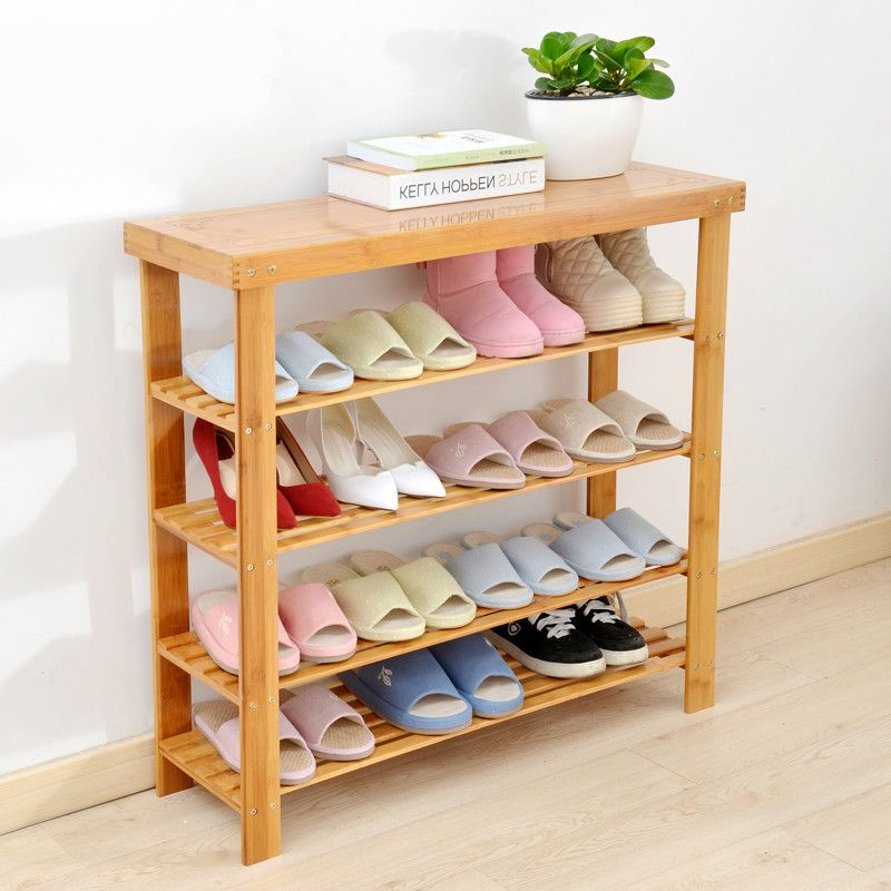 Solid Wooden Bamboo Shoe Cabinet Shoe Stool Rack Multi Layer Storage Rack Assembled Easily Sittable Slipper S Shoe Rack Living Room Home Furniture Fabulous Diy