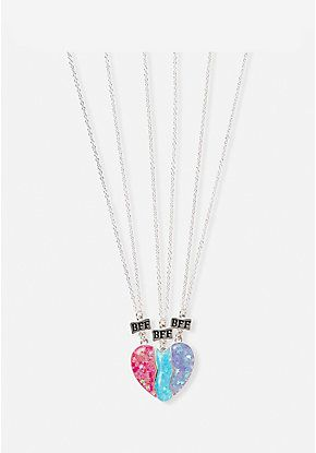 6254cede189 BFF Heart Pendant Necklace - 3 Pack Confortavel