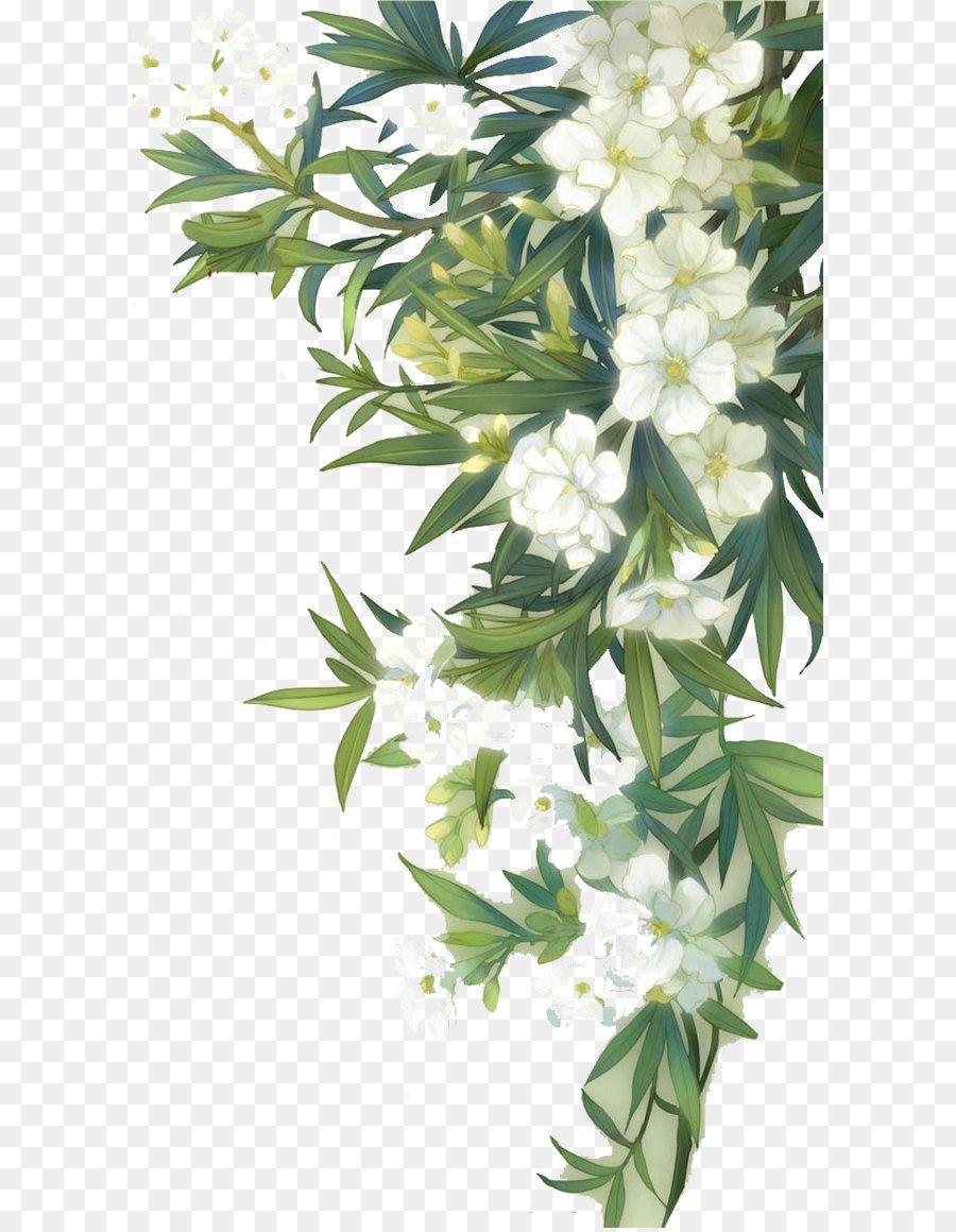 Watercolor flowers green. Familiar wild watercolour white