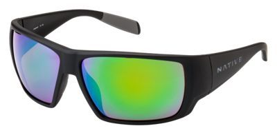 476c252076 Native Eyewear Sightcaster Polarized Sunglasses - Matte Black Green Mirror