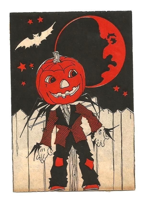 Vintage 1930 S Halloween Jol Scarecrow Bat Cat Moon Party Invitation Card Ebay Halloween Prints Vintage Halloween Prints Vintage Halloween Cards
