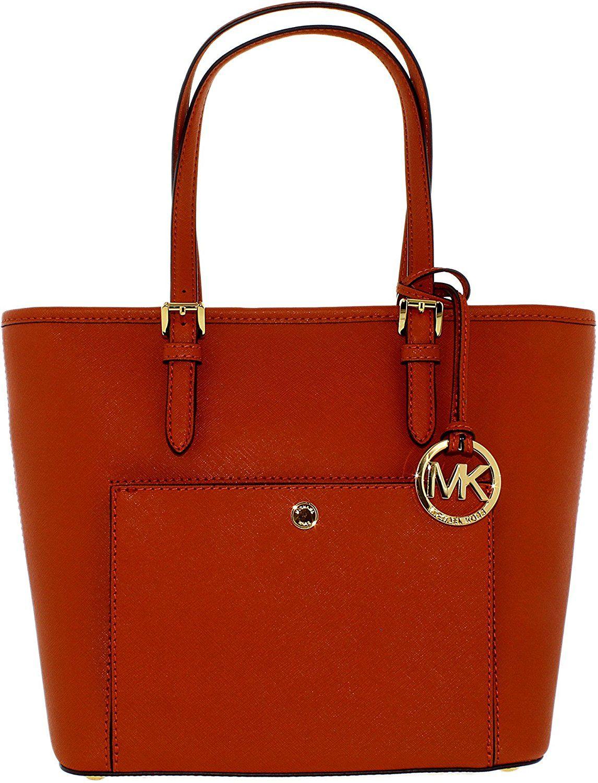 Michael Kors Jet Set Item Medium Top Zip Snap Pocket Tote Saffiano Leather  18K: Handbags