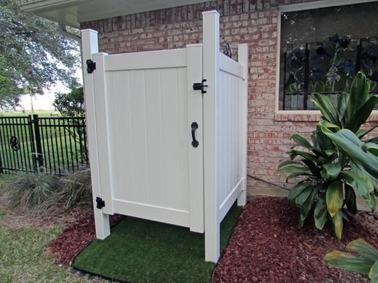 Liquid Sunshine 4 Ft. W X 5 Ft. H White Vinyl Outdoor Shower Stall Gate Kit  (Unassembled) 73025338 At The Home Depot   Mobile