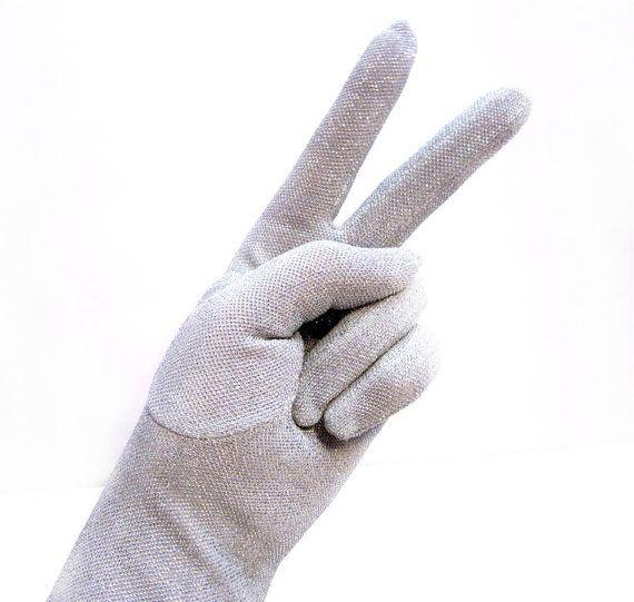Vintage 1950s Silver Gloves, Sparkling Thread
