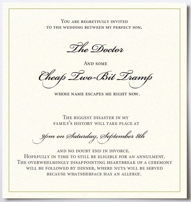 The Overly Honest Invitation Funny Wedding Invitations Wedding
