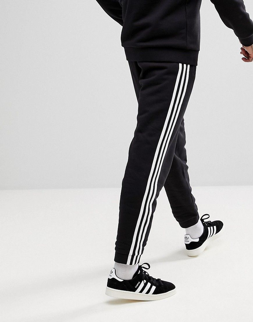 adidas Originals adicolor 3 Stripe Joggers In Black CW2981