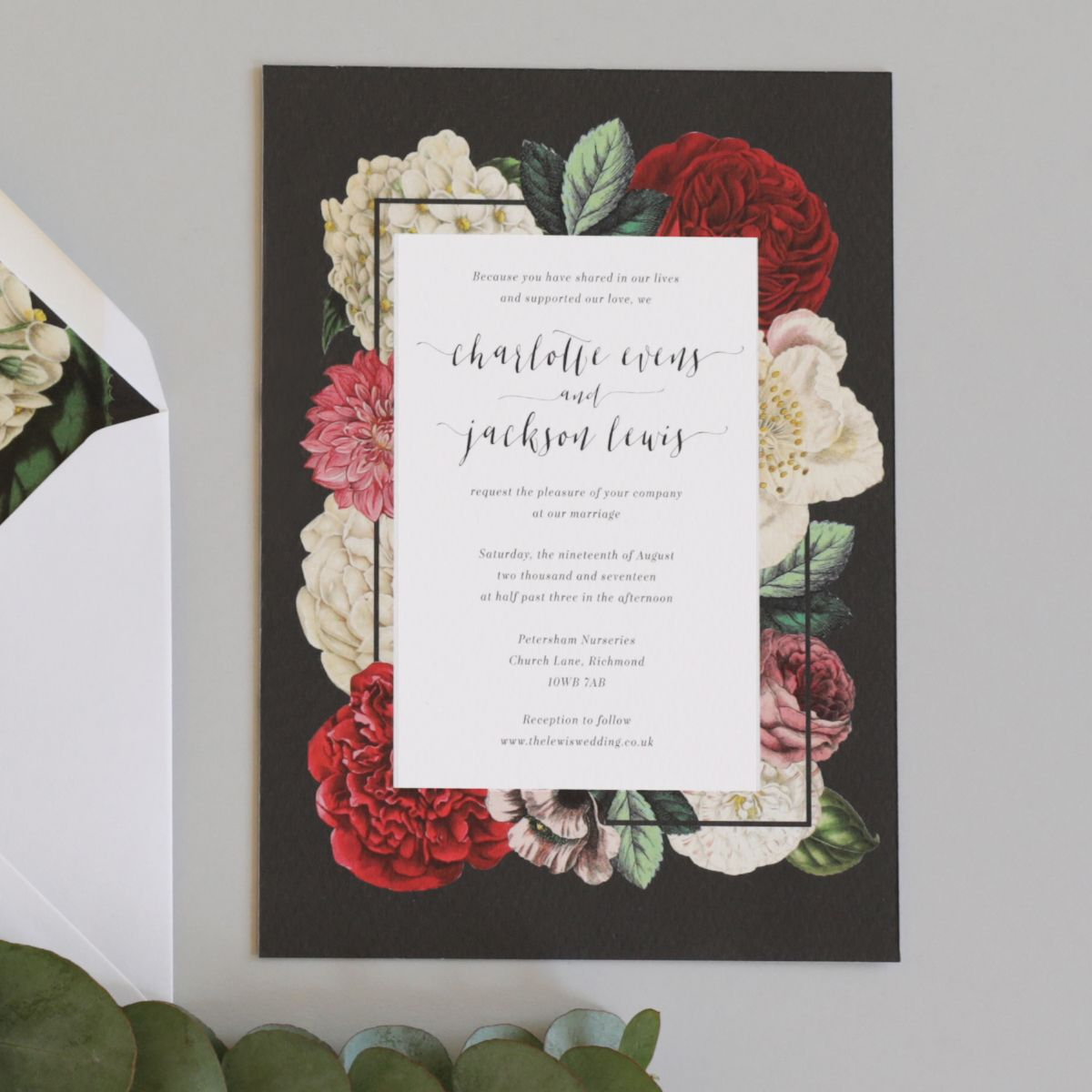 A dark and dramatic wedding invitation suite, featuring highly ...