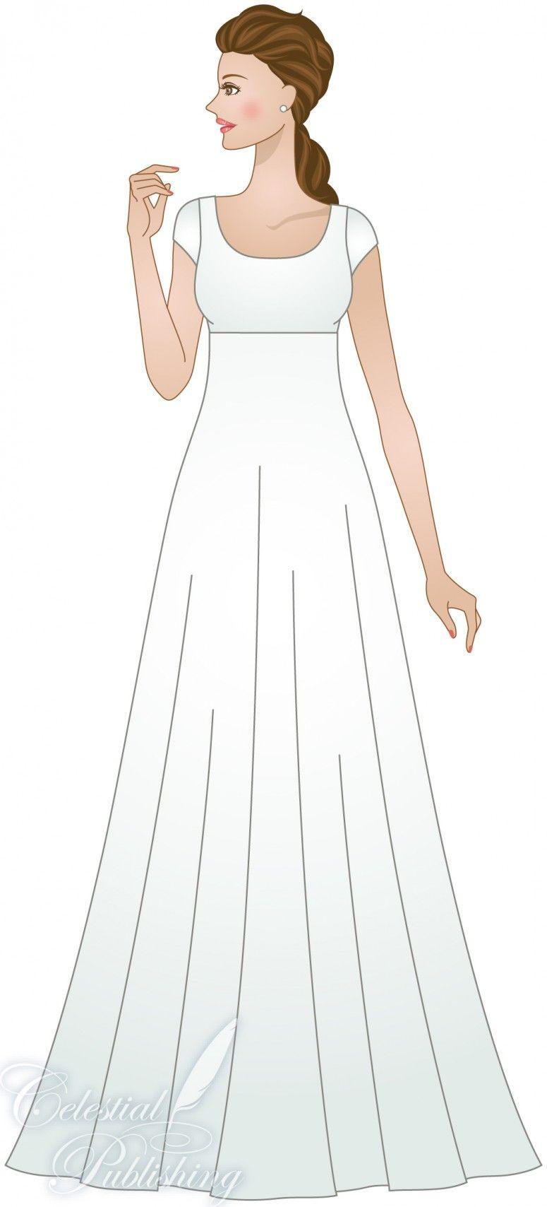 Modest Wedding Dresses, LDS temple weddings, WeddingLDS.com's signature bride modeling Empire Waistline