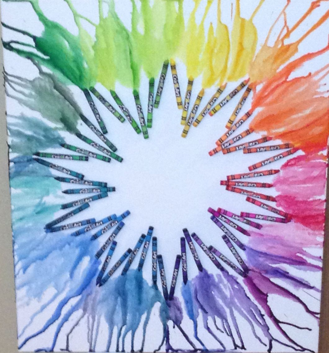 Melted Crayon Art Color Wheel Project Glue Crayons Onto A Canvas Using A Hot Glue Gun The
