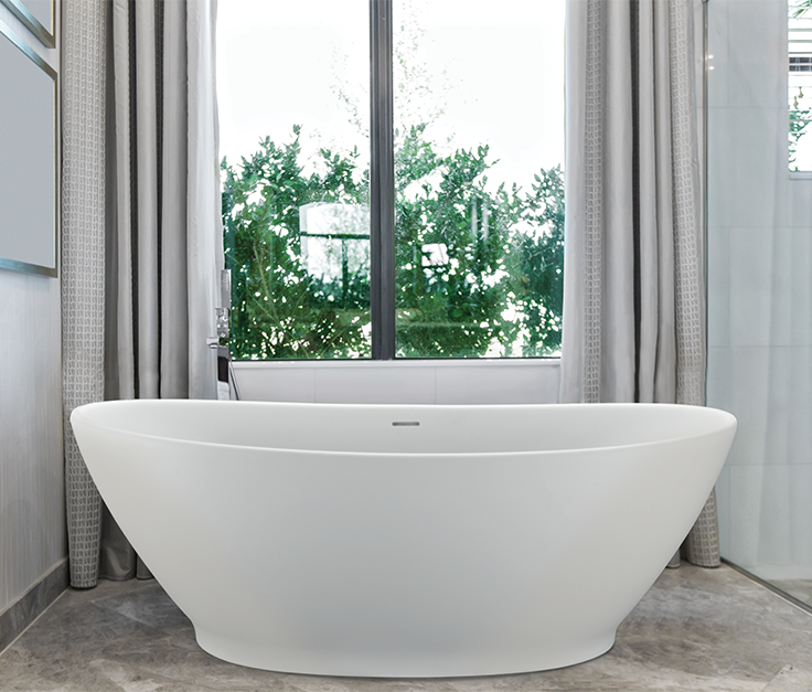 Spacious organic bathtub with a small footprint to fit delicate ...