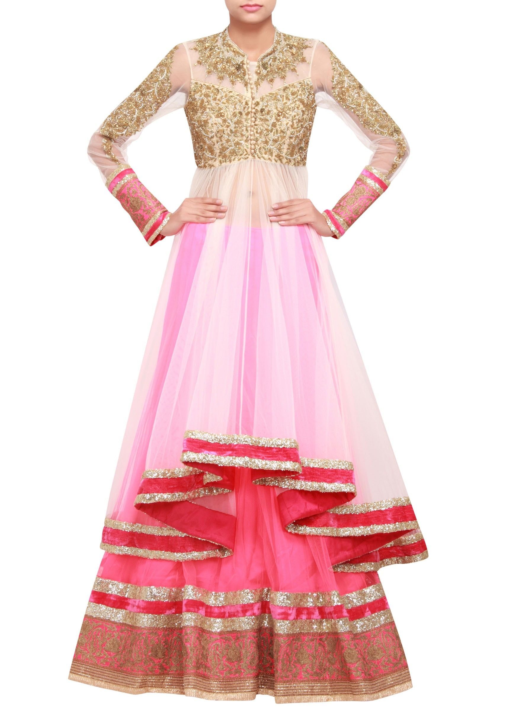 Long jacket lehenga featuring in net adorn with sequence only on ...