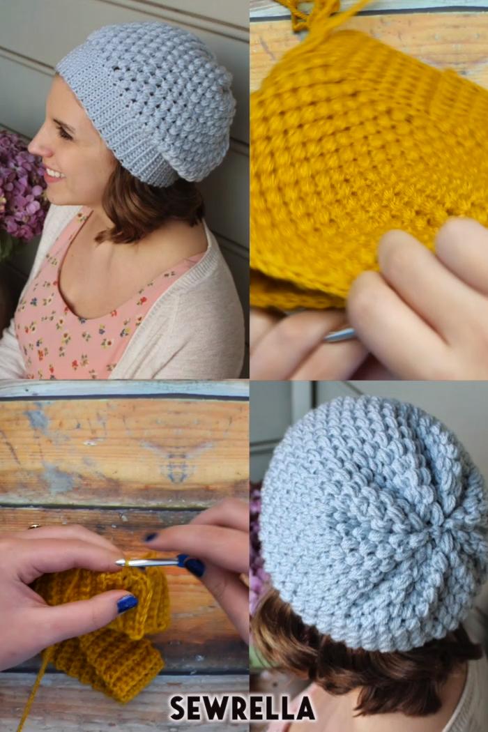 Crochet Puff Stitch Beanie Hat – free pattern : Crochet puff stitch beanie hat …