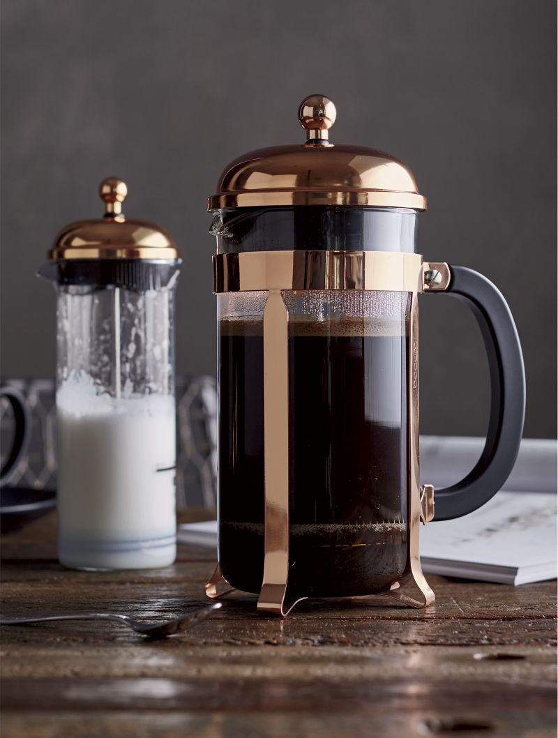 The signature dome-topped Bodum French press coffee maker takes on a beautiful copper-plated ...