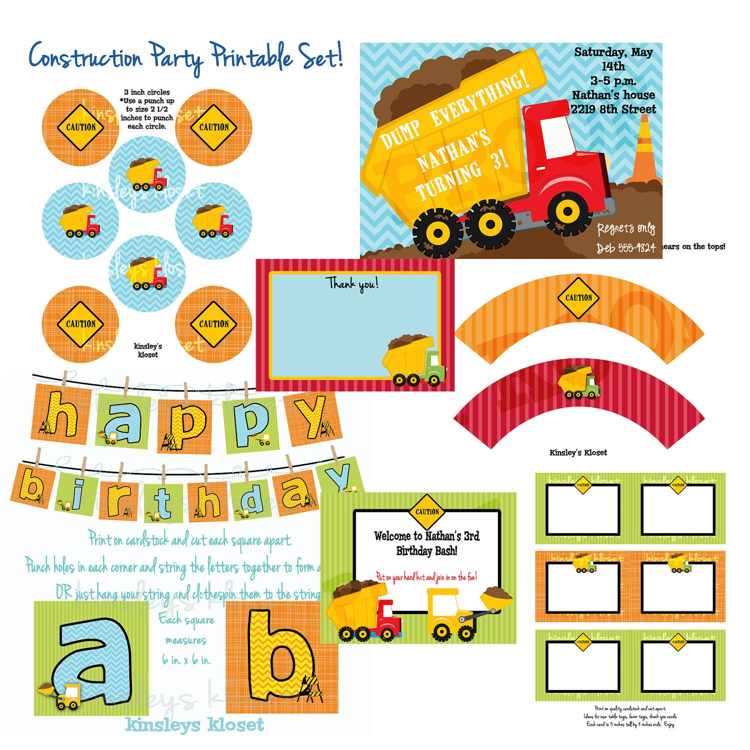 Dumptruck Construction Party Printables Dumptruck Birthday Party – Boy Party Invitations