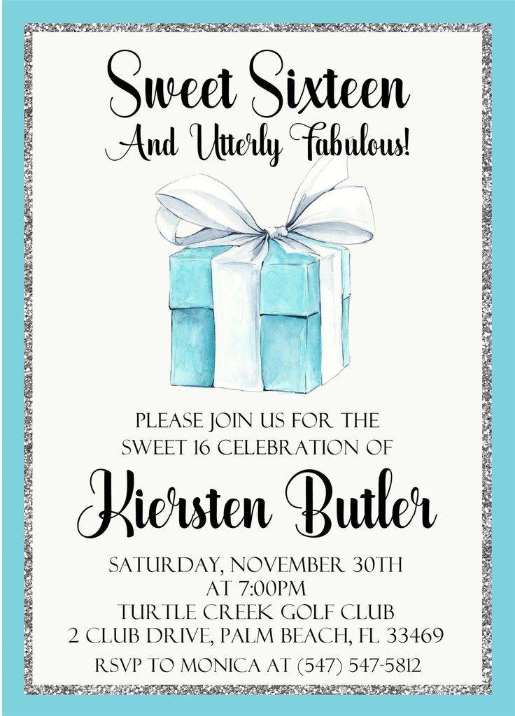 Tiffany & Co. Sweet 16 Birthday Party Invitations #sweet16cakes Tiffany & Co. Sweet 16 Birthday Party Invitations #sweet16birthdayparty