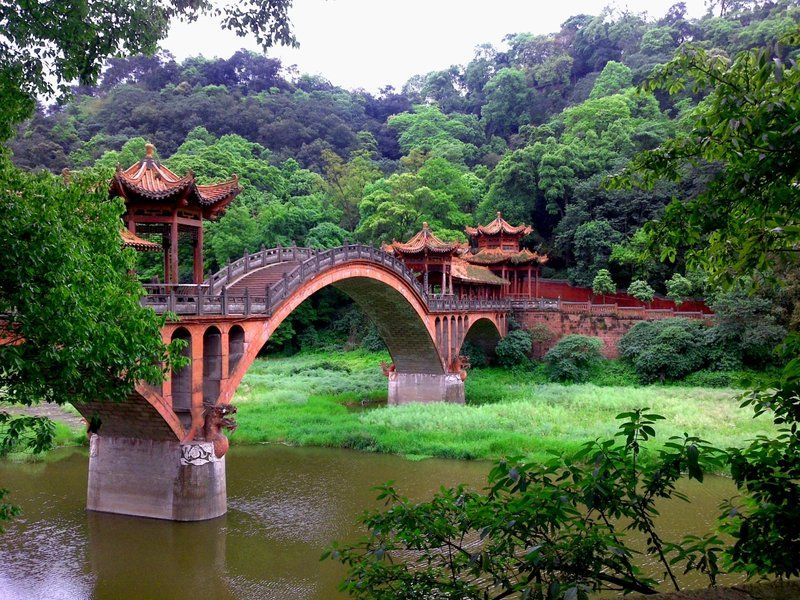 The Bridge To Wuyou Temple, A Cellphone Snapshot Itu0027s The Bridge To Wuyou  Temple Which Is Located In Leshan, Sichuan China, And The Bridge Is Not Far  Fr.