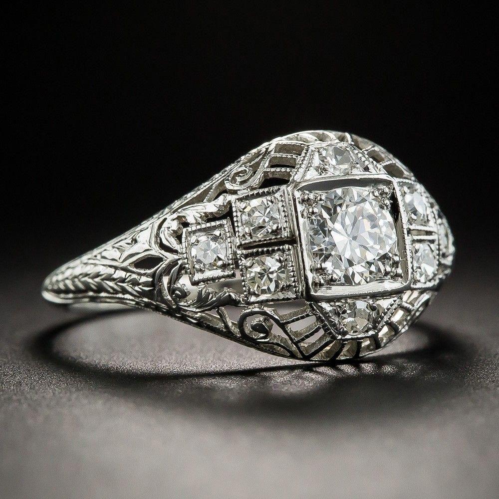 Art Deco Platinum Diamond Engagement Ring 3