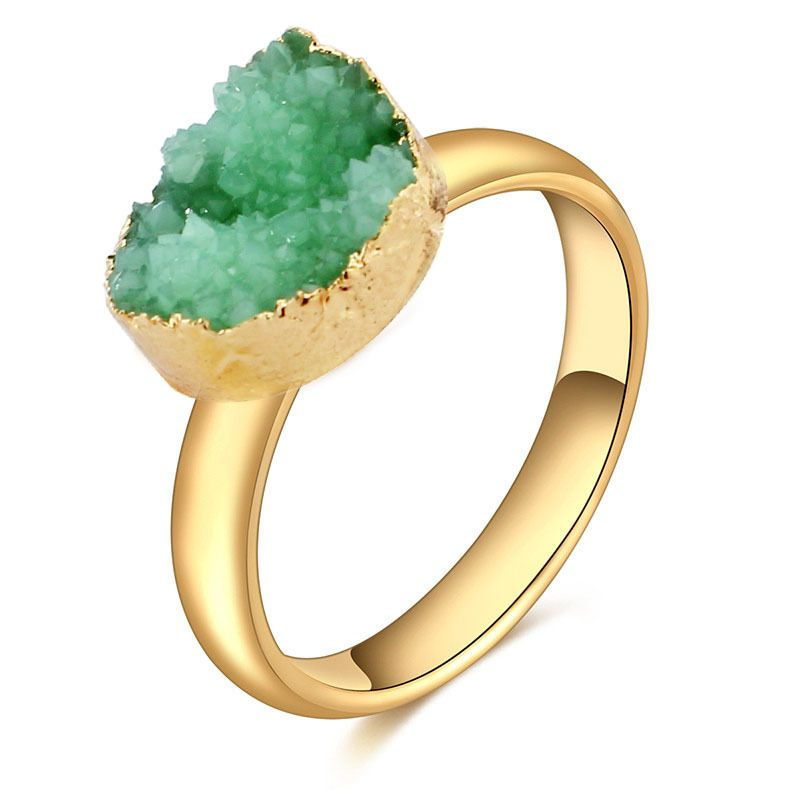 Irregular Natural Stone Band Rings For Women Opening Adjustable Finger Fashion Jewelry Gift Five Colors
