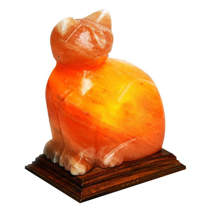 Imported from Pakistan, this cat shaped crystal salt lamp glows a ...