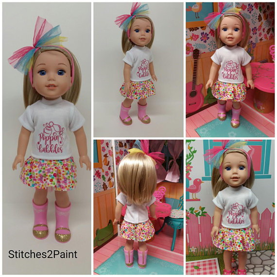 "Royal Blue T-Shirt fits AG Wellie Wishers Dolls 14.5/"" Dolls"