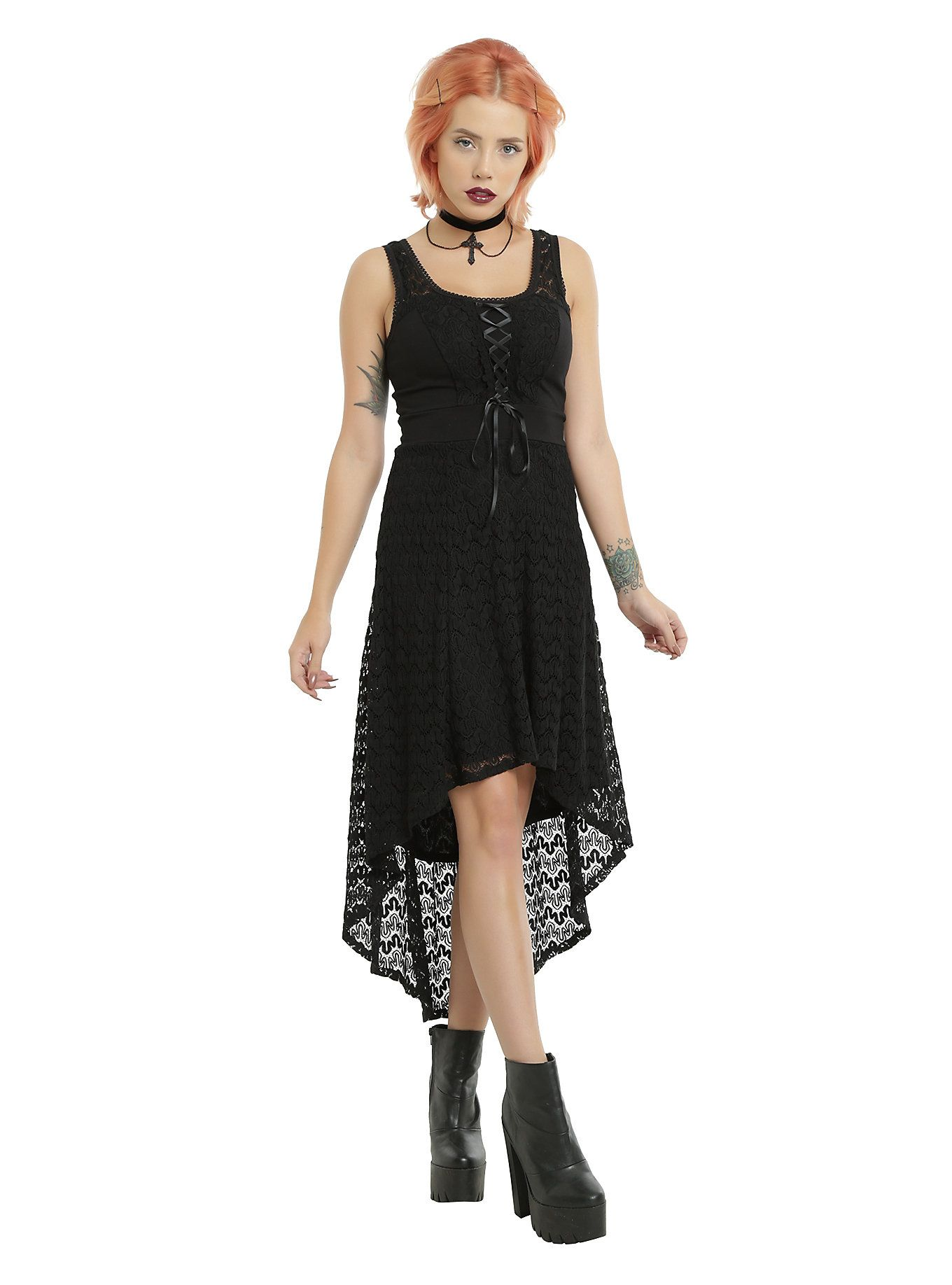p TRIPP does goth effortlessly with this tank style black dress from… Royal  Bones By TRIPP Black Sleeveless Crochet Hi-Low Dress  39d957e13