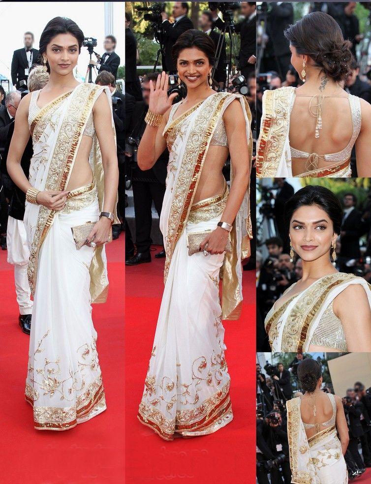 Gorgeous Deepika Padukone # White Saree With Golden Work ...