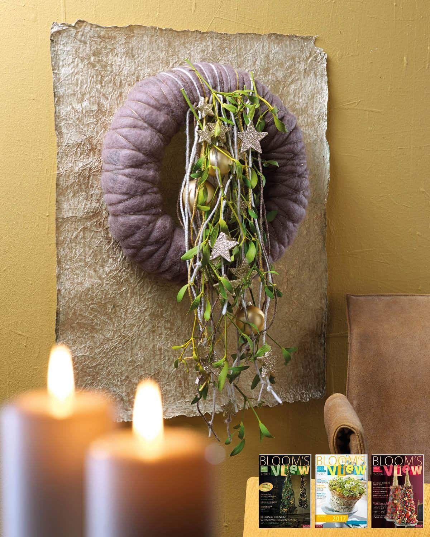 Blooms. Prachtige krans met wol, handgeschept papier | XMas ...