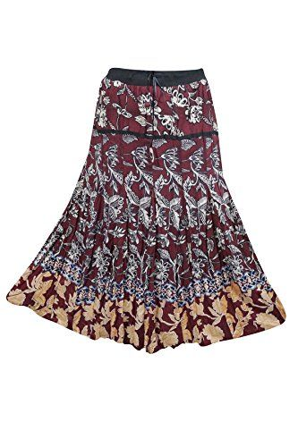 6b1dd58728 Mogul Women's Brown Printed Maxi Skirt Floral Print Long ... https://