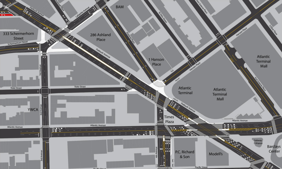 DOT Reveals a Flatbush Ave Pedestrian Safety Plan By Atlantic and Fourth