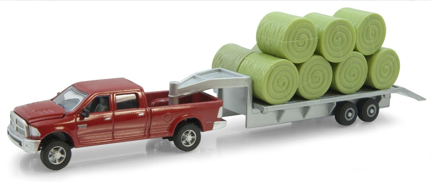 1 64 scale trucks and trailers - Amazon Com Ertl Dodge Pickup With Diecast Trailer And Bales 1 64