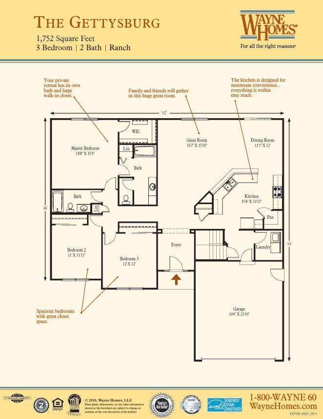 Gettysburg Floor Plan Ranch Custom Home Ranch Style Floor Plans