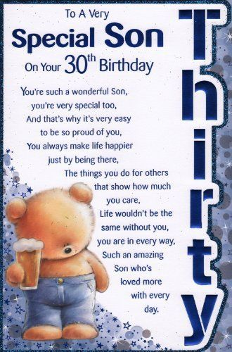 Son Birthday Card Just For You Inspirational Sayings 30th