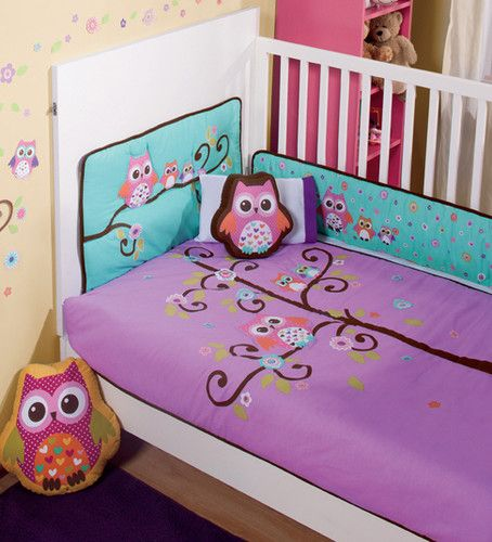 new purple violet aqua baby owl crib bedding nursery sheet set 6 pieces