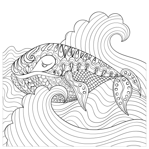 Hand Drawn Whale In The Waves Coloring Page | Free hand drawing ...