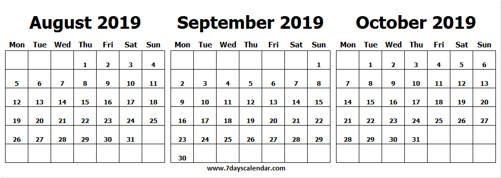 Printable August September October 2019 Calendar