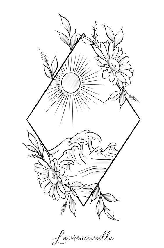 Dreieck Natur Sonne Welle Strand Sonnenblume Tattoo Design @laurenceveillx  Zeichnen #diytattoos – diy tattoos