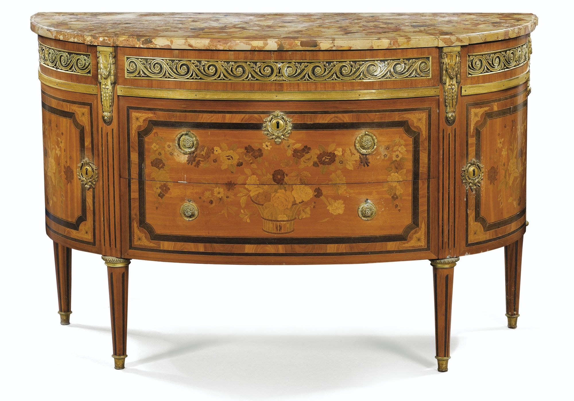 a floral marquetry commode louis xvi and stamped jme deshayes opening with three drawers in. Black Bedroom Furniture Sets. Home Design Ideas