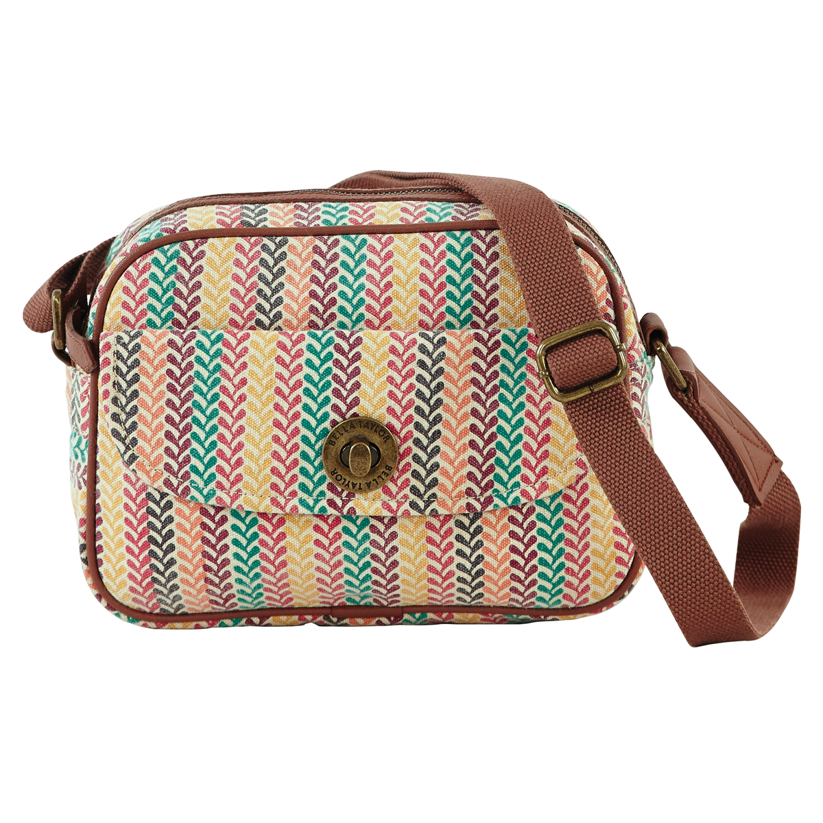 Bella Taylor Pacific Grove Canvas Mini Messenger Crossbody. Just like the laid-back beaches of the West Coast, the Pacific Grove Canvas collection offers casual but fresh style with slightly distressed turquoise, yellow, black, plum, coral and fuchsia colors on a crème canvas base.  Shop The Handbag Store online at www.shopthehandbagstore.com.