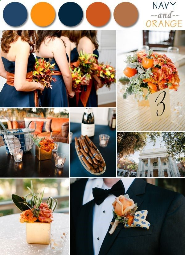 Fall wedding colors - Navy and Orange. It would be nice if the grooms tuxedo was navy blue.