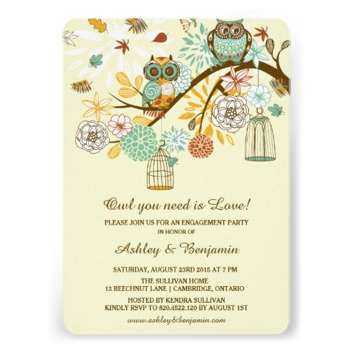 Whimsical Autumn Owls Engagement Party Invitation WEDDINGS - engagement party templates