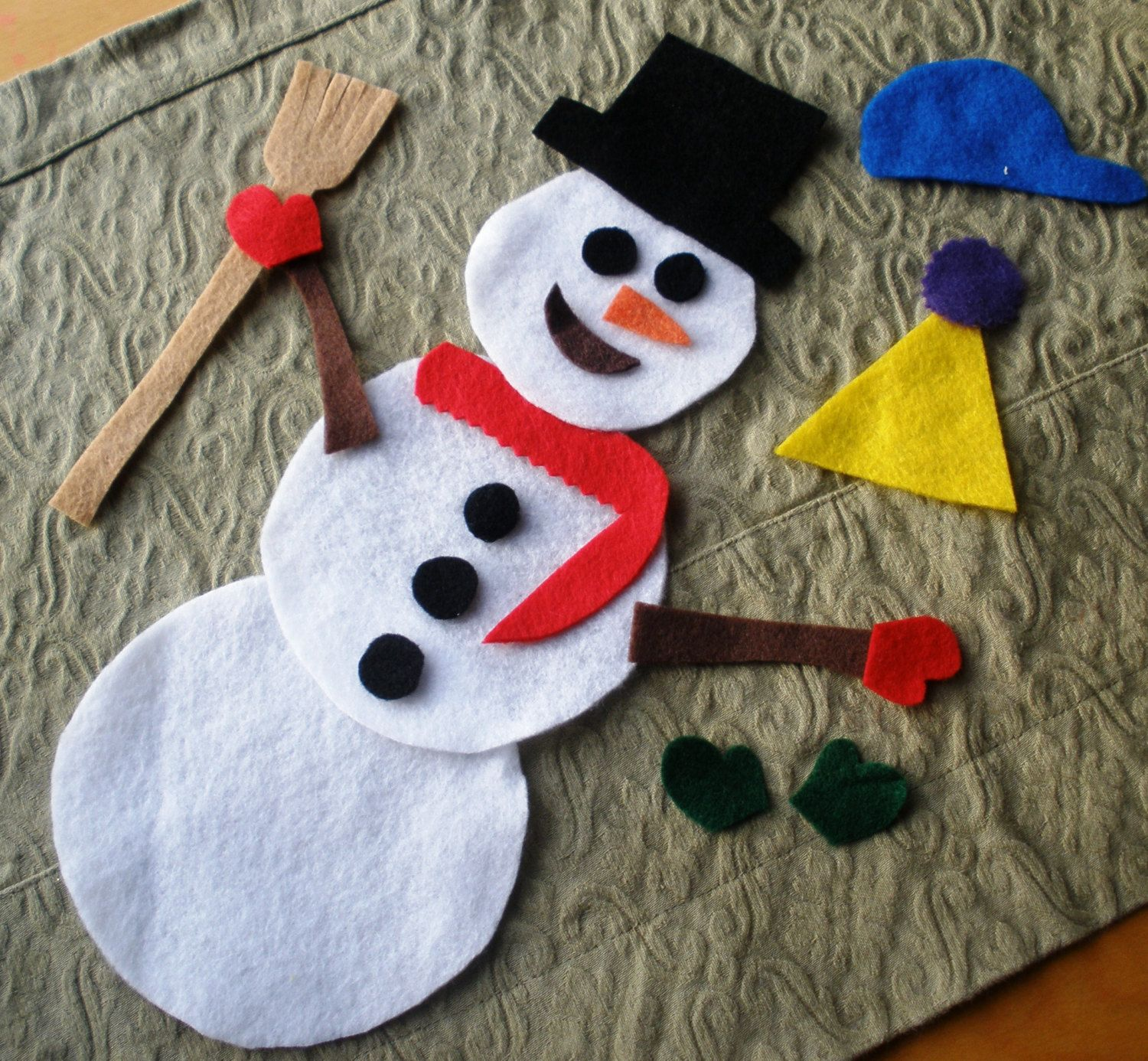 Felt Snowman Building Activity Kit And Busy Bag